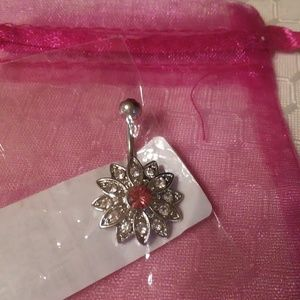 Double gemmed flower belly ring